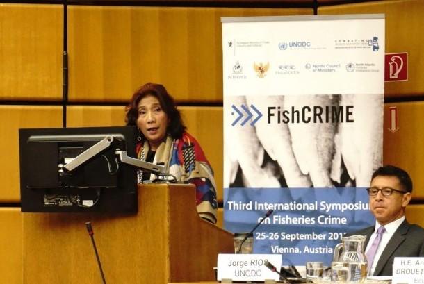 Menteri Kelautan dan Perikanan Susi Pudjiastuti saat di forum PBB di Vienna, Senin (25/9).