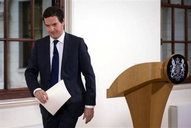 Menteri Keuangan Inggris George Osborne saat konferensi pers di London, Senin, 27 Juni 2016.