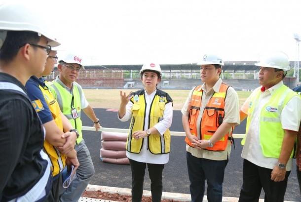 Menteri Koordinator Bidang Pembangunan Manusia dan Kebudayaan (Menko PMK) Puan Maharani mengecek langsung beberapa fasilitas Asian Games 2018 di komplek Gelora Bung Karno, Jumat (20/10).