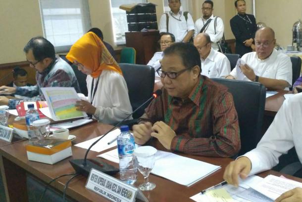 Menteri Koperasi dan UKM, Anak Agung Gede Ngurah Puspayoga saat rapat kerja dengan DPD, Senin (18/9).