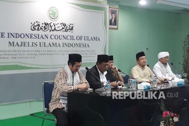 Panitia Aksi Indonesia Bersatu Bela Palestina menggelar konfrensi pers di Kantor MUI Pusat, Jakarta Pusat, Kamis (14/12). Aksi ini akan dipimpin langsung oleh Ketum MUI, KH Ma'ruf Amin.
