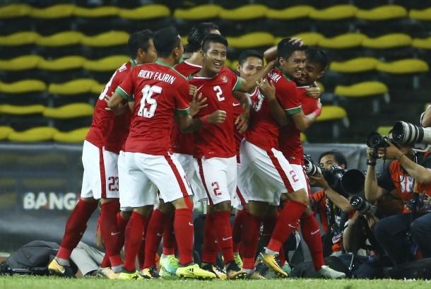 Para Pemain Timnas Indonesia merayakan gol ke gawang Filipina diajang babak penyisishan sepakbola Sea Games 2017 di Kuala Lumpur, Malaysia.