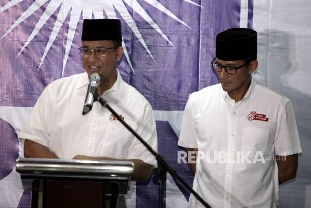 Pasangan calon gubernur dan wakil gubernur DKI Jakarta Anies Baswedan-Sandiaga Uno