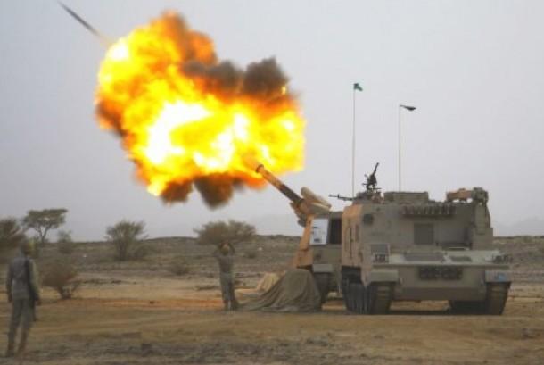 Pasukan artileri Arab Saudi menyerang markas militan Houthi yang menguasai Yaman.