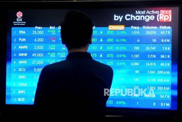 Pekerja melihat layar pergerakan indeks Harga Saham Gabungan (IHSG) di Gedung Bursa Efek Indonesia (BEI), Jakarta, Kamis (22/6). (ilustrasi)