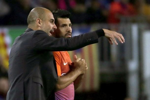 Pelatih Manchester City, Pep Guardiola (kiri) dan striker, Sergio Aguero.