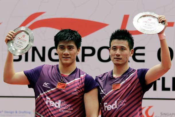 Pemain bulutangkis ganda putra Cina, Cai Yun (kanan) and Fu Haifeng (kiri).