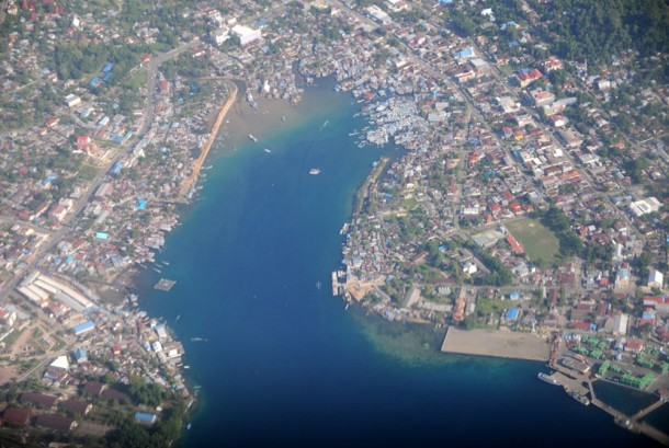 Aerial view of Manokwari, West Papua Province.