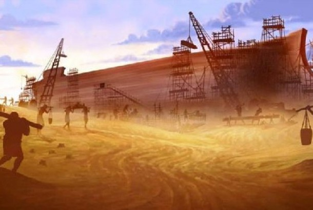 Pembuatan bahtera Nabi Nuh (ilustrasi).