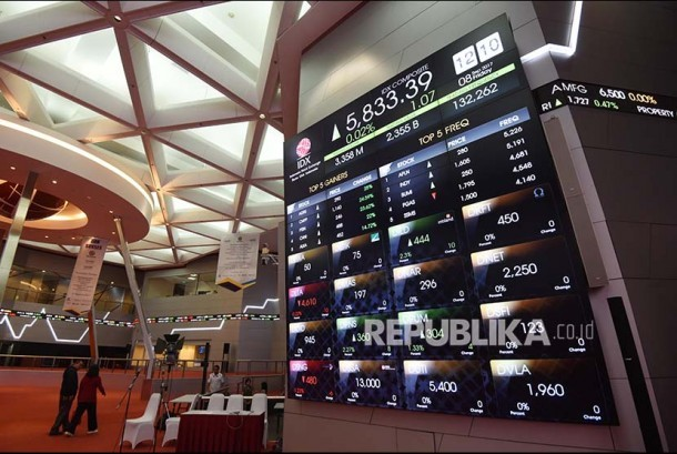 Pengunjung melintasi layar elektronik pergerakan saham di Bursa Efek Indonesia, Jakarta. ilustrasi