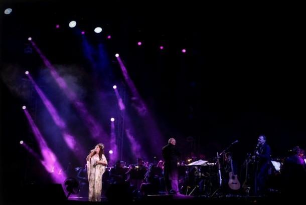 Penyanyi Inggris Sarah Brightman di panggung Prambanan Jazz, Sabtu (19/8).