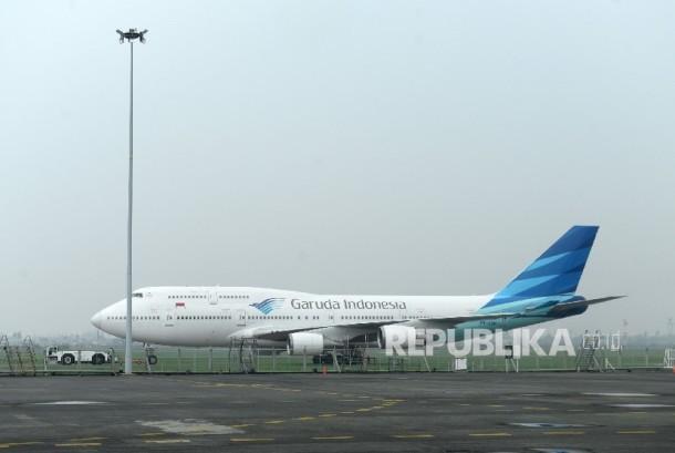 Pesawat Garuda Indonesia (ilustrasi).  Kemenhub minta masalah internal Garuda tak pengaruhi layanan.