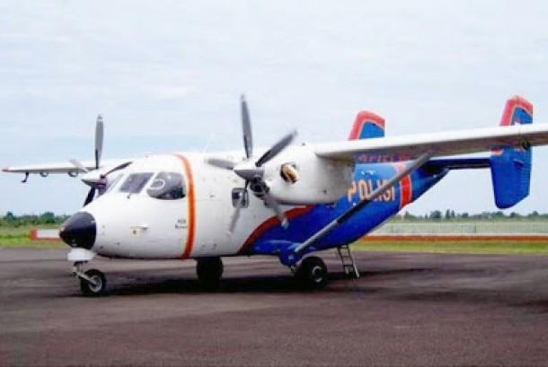 Pesawat M 28 Skytruck milik Polri yang seperti inilah yang hilang di Kepri.