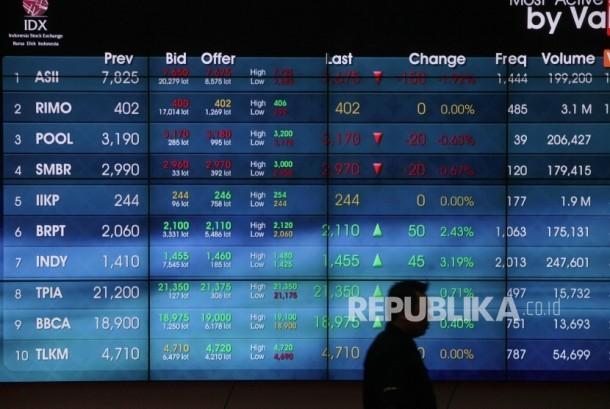 Petugas melintasi papan elektronik yang menunjukkan pergerakan indeks harga saham gabungan (IHSG) di gedung Bursa Efek Indonesia, Jakarta.