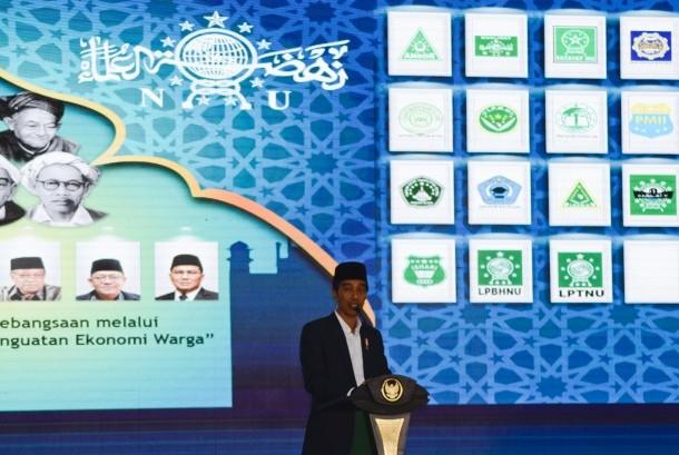 Presiden Joko Widodo menyampaikan pidato saat pembukaan Munas Alim Ulama dan Konferensi Besar Nahdlatul Ulama di Islamic Center NTB di Mataram, Kamis (23/11).