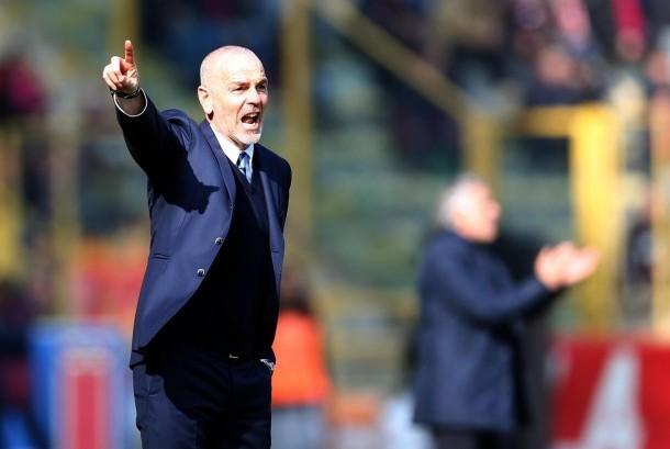 Reaksi pelatih Inter Milan, Stefano Pioli pada laga Serie A lawan Bologna di Renato Dall'Ara, Ahad (20/2). Inter menang 1-0.