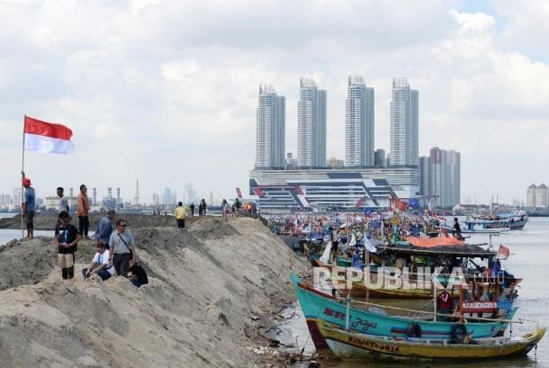 Nelayan menolak reklamsi pulau G di kawasan Muara Angke, Jakarta Utara