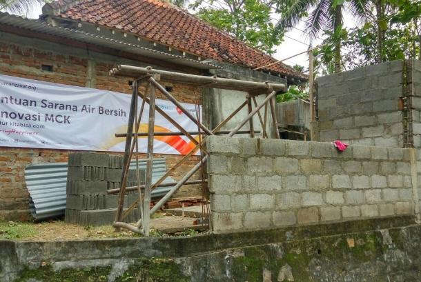 Rumah Zakat membangun tempat wudhu di masjid Ainun Jariyah Sabrang Lor, desa Triwidadi, kecamatan Pajangan, Kab. Bantul.
