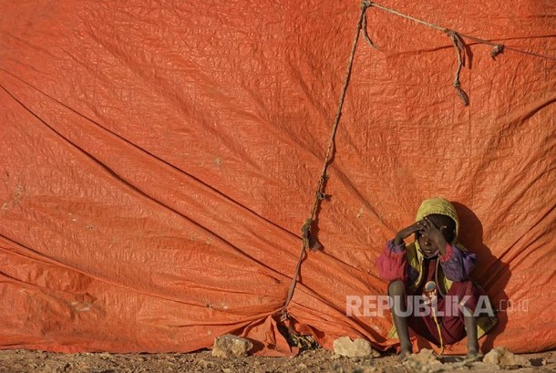 A child in refugees camp in Qardho, Somalia. The Somalian government has declared drought as national disaster.