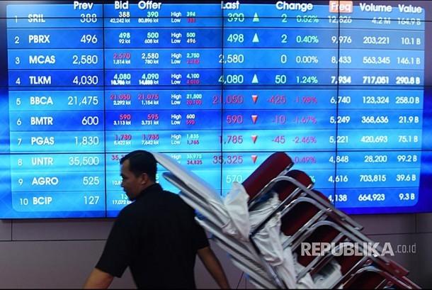 Seorang pekerja melintasi layar elektronik pergerakan harga saham di Bursa Efek Indonesia, Jakarta, Jumat (3/11). Indeks Harga Saham Gabungan (IHSG) ditutup naik 8,4 poin atau 0,14 persen ke 6.039 poin.