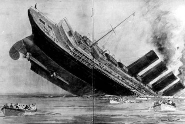 Sketsa tenggelamnya kapal Inggris Lusitania kapal selam Jerman di lepas pantai selatan Irlandia, 7 Mei 1915 saat Perang Dunia I.