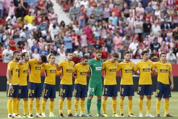 Skuat Atletico Madrid sebelum laga La Liga lawan Girona FC di Stadion Municipal Montilivi, Ahad (20/8) dini hari WIB. Laga berakhir imbang 2-2.