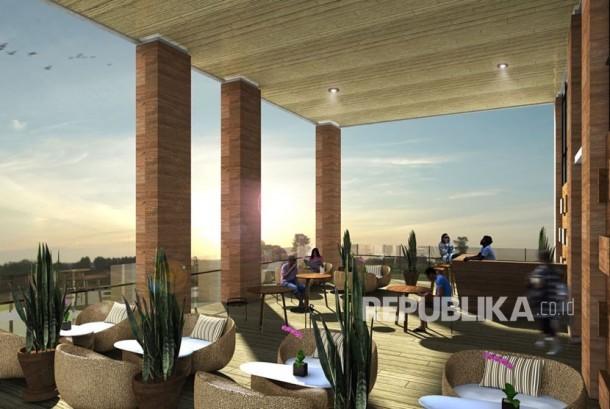 Ilustrasi sky garden yang terdapat di apartemen The Conexio sebagai sarana sosialisasi penghuninya
