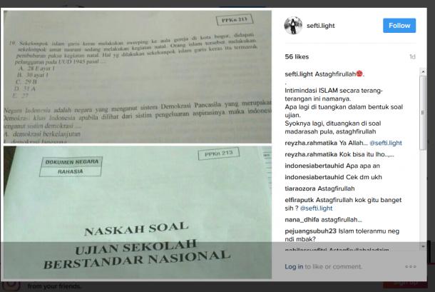 Soal PKn Ujian Sekolah Berstandar nasional (USBN) yang menyudutkan umat Islam. (ilustrasi)