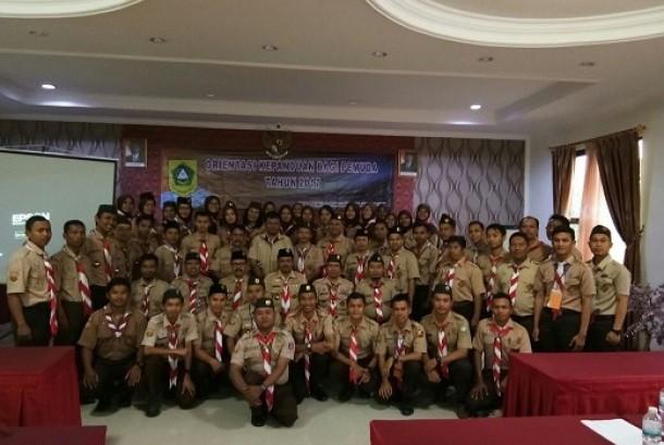 Suasana pelatihan kepanduan yang diselenggarakan bersama oleh Dispora dan Kwarcab Kabupaten Bogor.