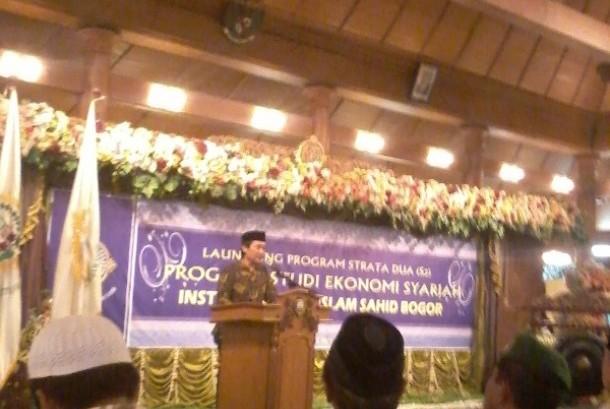 Suasana peluncuran program Magister (S2) Ekonomi Syariah Institut Agama Islam Sahid (INAIS) Bogor, Sabtu (27/5).