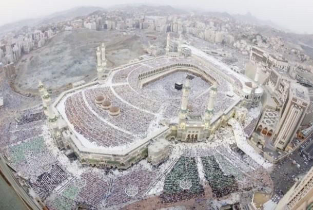 Suasana shalat Idul Fitri di Masjidil Haram Makkah.