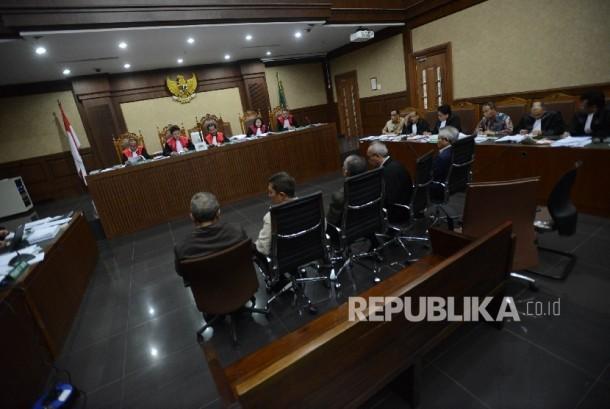 Suasana sidang lanjutan kasus korupsi KTP Elektronik (ilustrasi)