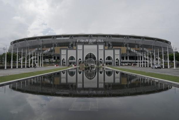 Suasana Stadion Bukit Jalil yang digunakan sebagai lokasi pembukaan SEA Games XXIX Kuala Lumpur, di Kuala Lumpur, Malaysia, Senin (14/8).