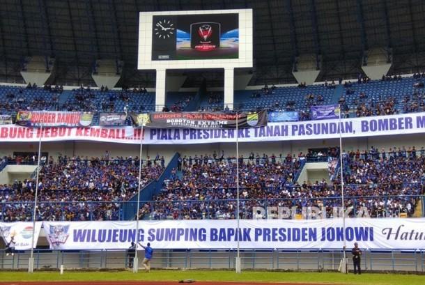 Suasana Stadion GBLA menjelang kickoff Piala Presiden antara Persib vs Sriwijaya FC