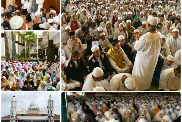 Suasana Zikir Akbar dan ikrar syahadat mualaf di Masjid Az-Zikra Sentul, Bogor, Jawa Barat, Ahad (2/4/2017).