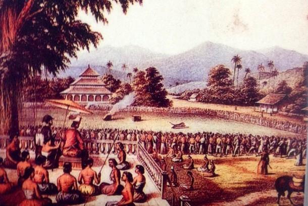 Sultan Mataram tengah menggelar acara rampokan (adu macan melawan manusia).