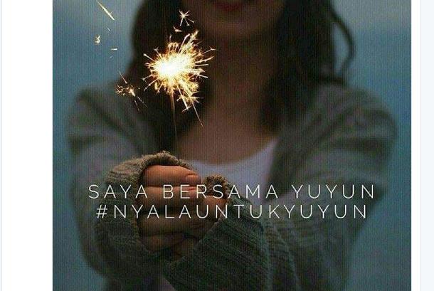 Tagar #NyalaUntukYuyun yang sempat meramaikan Twitter terkait dengan seorang siswi SMP, Yuyun yang tewas karena diperkosa
