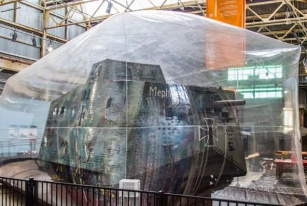Tank A7V Jerman dipelihara di Ipswich tepatnya di Museum 'Workshops Rail'.