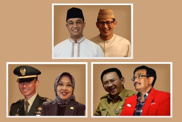 Tiga pasangan calon gubernur dan wakil gubernur di Pilgub DKI 2017.