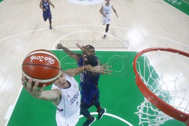 Tim basket AS melawan Serbia pada Olimpiade Rio 2016