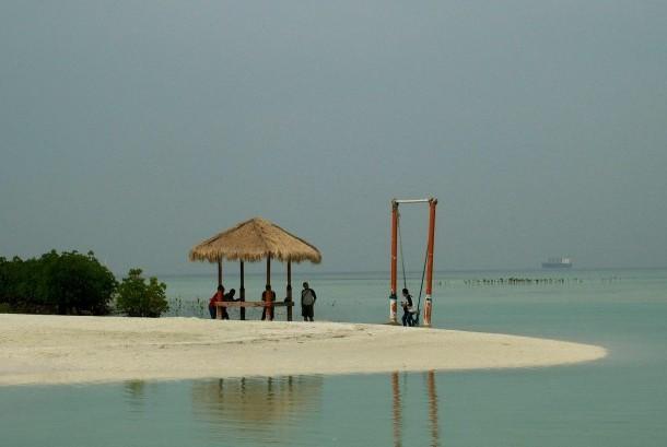 Perawan beach of Pari Island in One Thousand Islands District, Jakarta.