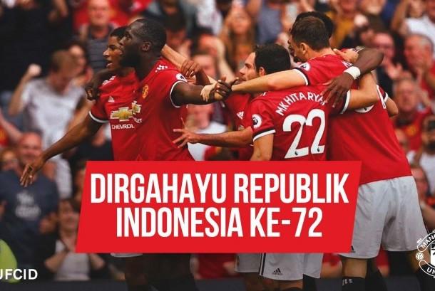Ucapan selamat HUT ke-72 Republik Indonesia dari Manchester United.