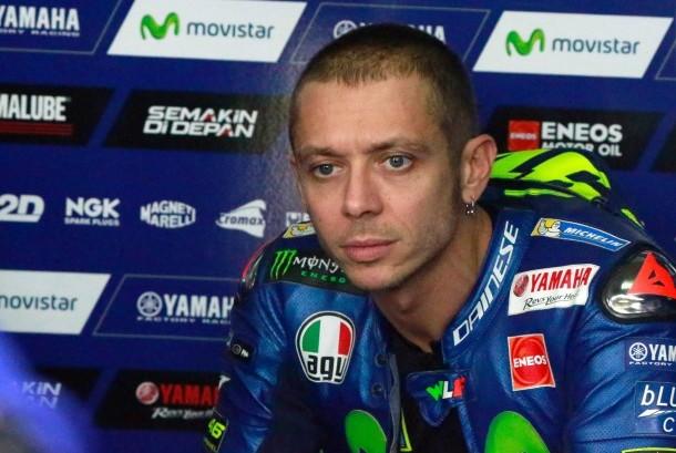 Valentino Rossi pada sesi latihan bebas GP Aragon, Spanyol, Jumat (22/9).