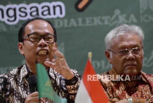 Wabendum ICMI Suhaji Lestiadi (kiri), dan Ketua Pokja Bank Wakaf Zainul Bahanoor menjadi pembicara dalam diskusi Dialektika ICMI yang bertemakan Bank Wakaf Ventura Indonesia (Ilustrasi)