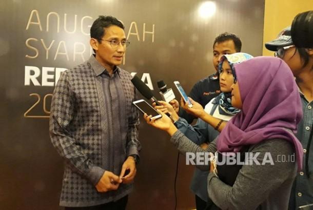 Wakil Gubernur DKI Jakarta Sandiaga Uno di acara Anugerah Syariah Republika, JW Marriott, Jakarta, Rabu (6/12).