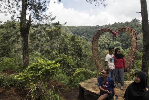 Wisatawan berfoto dengan latar belakang hutan di Cikole, Lembang, Kabupaten Bandung Barat, Jawa Barat, Ahad (5/11).