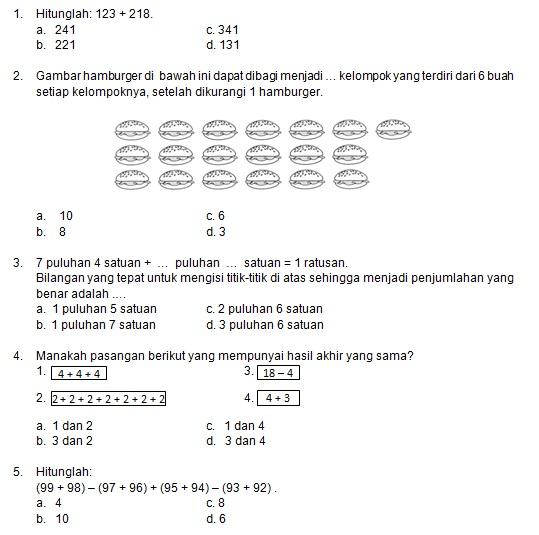 Latihan Soal Matematika Nalaria Realistik Paket 8 Untuk Kelas 1 2 Republika Online