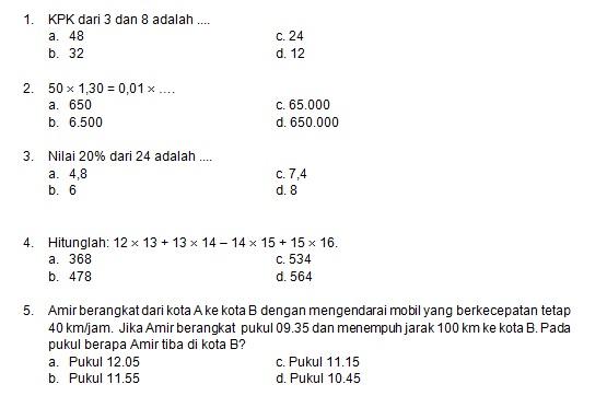 Latihan Soal Matematika Nalaria Realistik Paket 8 Untuk Kelas 5 6 Republika Online