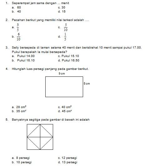 Latihan Soal Matematika Nalaria Realistik Paket 10 Untuk Kelas 5 6 Republika Online