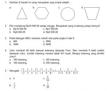 Latihan Soal Matematika Nalaria Realistik Paket 10 Untuk Kelas 3 4 Republika Online